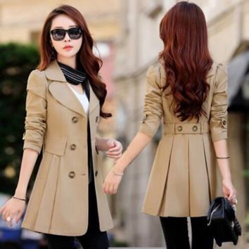 Trench Coat for Women Casual 6 Colors Turn-down Collar Slim Fit Double Breasted Spring Ladies Coat Plus Size 3XL