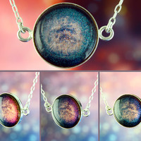 Andromeda - .925 Sterling Silver Necklace - Galaxy Jewelry - Space Jewelry - Science Jewelry - Silver Choker - Color Shifting - Blue Purple