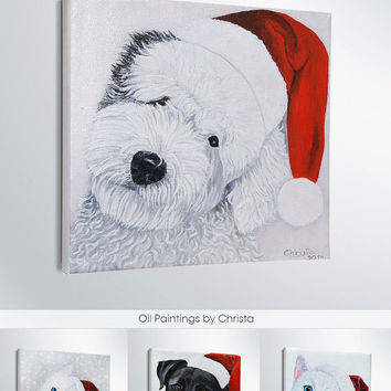 CUSTOM  PET PORTRAIT-christmas gift-dog or cat portrait-christmas cap-Oil Painting-christmas sign-oil Painting- art-desk and wall decor