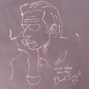 NICK CAVE and The Bad Seeds Hand Painted Pop Art Retro Rock Vintage Style T-shirt