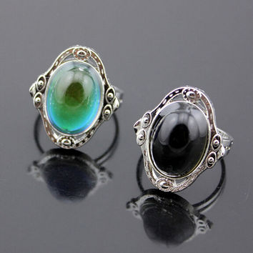 Vintage Retro Color Change Mood Ring Oval Emotion Feeling Changeable Ring Temperature Control r511
