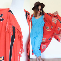 Vintage FRINGE batik red ethnic native duster long blouse dress beach cover up african print