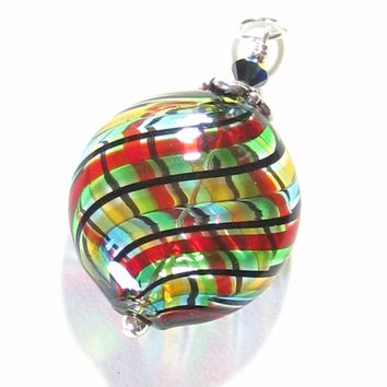 Murano Glass Colorful Blown Glass Disc Pendant
