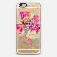 SUMMER LOVE WITH GOLDEN DOTS - CRYSTAL CLEAR PHONE CASE iPhone 6 case by Nika Martinez | Casetify