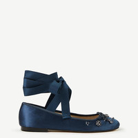 Zoey Jeweled Satin Lace Up Ballet Flats | Ann Taylor