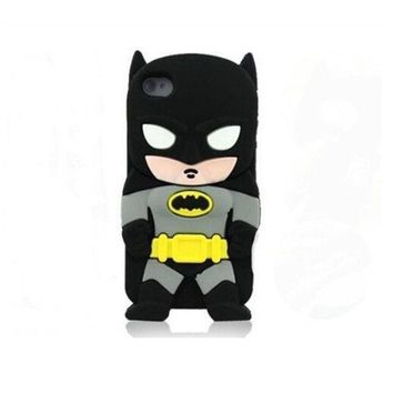 3d Cute Superhero Cartoon Silicon Soft Cover Case For Iphone 4 4s 4g (batman) = 1928041860