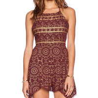 Free People Open Side Printed Romper in Burgundy