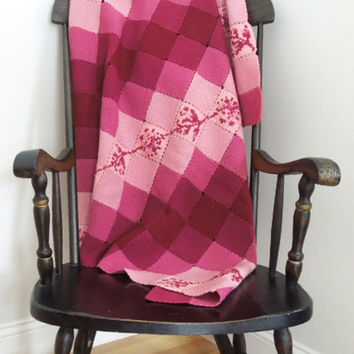 Crocheted afghan throw blanket in ruby red rose pink squares - Mothers day gift (Ready to ship)