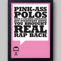"KANYE WEST  ""Pink-Ass Polos"" quote poster - Yeezus lyrics - I Am A God - Jay-Z - typographical print"