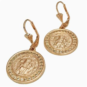 Saint Benedict Dangle Earrings 18k of Gold Plated