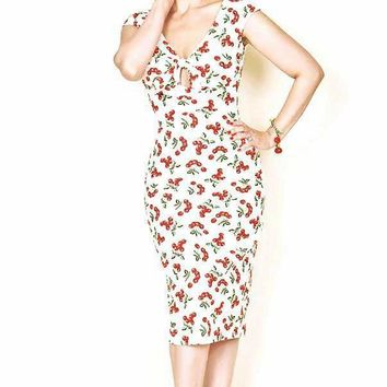 Ruby Twist Cherry Print Pinup Wiggle Dress