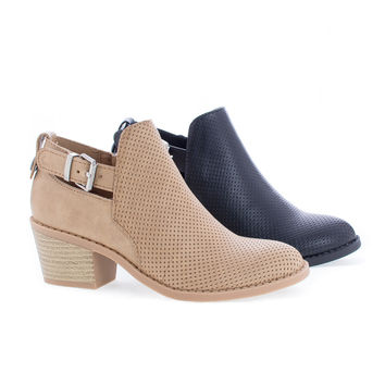 InspireIIS Tan Pu By Soda, Children Girls Mid Heel Perforated Ankle Boots