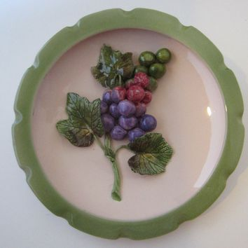 Wildwood Pasadena Ceramics Majolica Purple Red Grape Cluster Wall Art