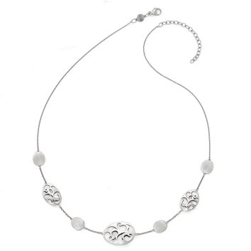 14k White Gold Polished and Brushed Disc Station Necklace, 16-18 Inch