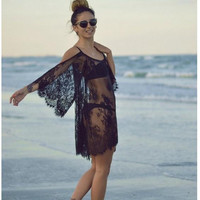 Beach Sea Strapless Summer Lace Off Shoulder Beach Dress See Through One Piece Dress = 5861455361