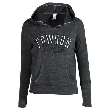 Official NCAA Towson University Tigers TU Doc the Tiger HAIL TOWSON! Women's Cropped Fit Fleece Pullover Sweatshirt