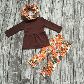FALL OUTFITS persnickety girls 3 pieces sets girls baby girls thanksgiving clothing children boutique 3 pieces floral pant