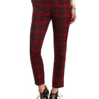 High-Waisted Plaid Trousers by Charlotte Russe - Black/Red