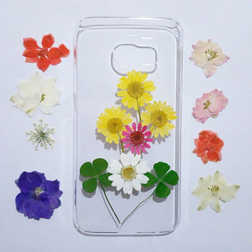 Daisy note 4 case, Clear Samsung Galaxy note 5 Case, Samsung Galaxy note 4 Case ,flower Galaxy note 5 case , pressed flower samsung case