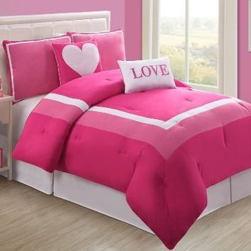 Victoria Classics Hotel Juvi Comforter Set, 5-Piece, Full, Pink Love:Amazon:Home & Kitchen