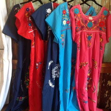 Hand Embroidered Mexican Puebla Peasant Dress