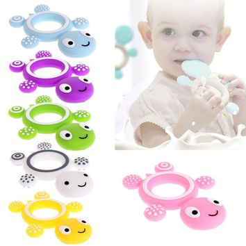 Cute Tortoise Baby Teether Kids Food Grade Silicone Soother Teether Teething Pacifier