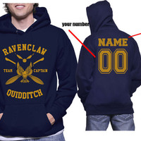 Custom Number and name on back, Ravenclaw Quidditch team Captain YELLOW print printed on NAVY Hoodie