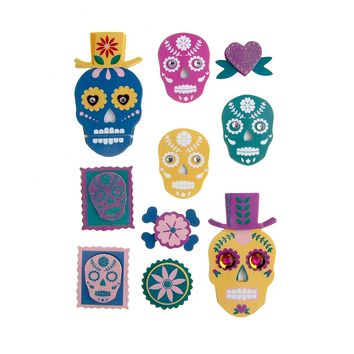 Colorful Sugar Skull Pop Up 3D Stickers, 10-Piece