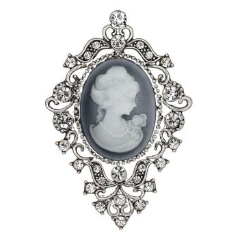 Cool Fashion Vintage Jewelry Cameo Brooch Pin Beauty Queen Crystal Rhinestone Christmas Antique Silver Brooches For WomenAT_93_12