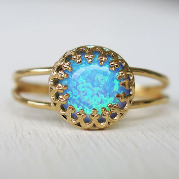 opal ring, blue opal ring, gold ring, gold opal ring, stacking ring, cocktail ring, stack ring, gold thin band, bridesmaid gift