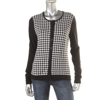 August Silk Womens Houndstooth Long Sleeves Cardigan Sweater
