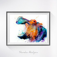 Hippo watercolor painting print, Hippo art, animal art, animal watercolor, Hippo illustration, Hippo painting, safari art, art print