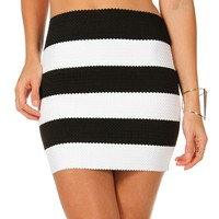 Sale-black Stripe Rubber Band Fitted Skirt