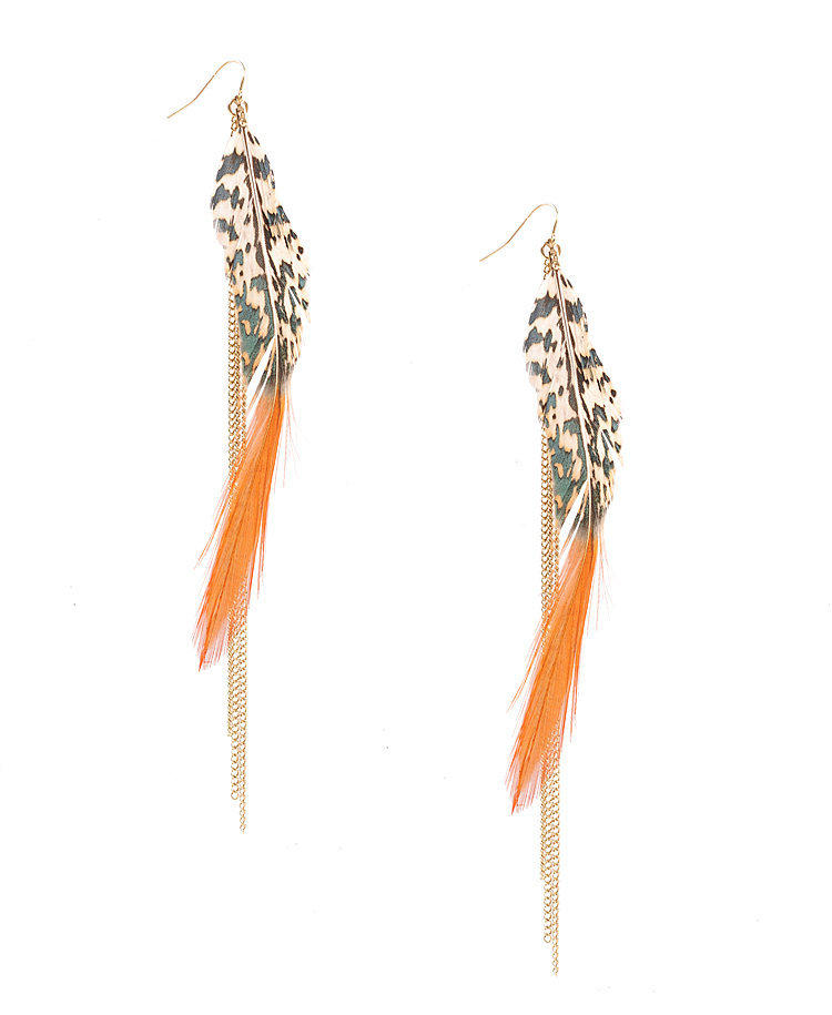 Chain & Feather Earrings