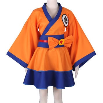 "Free Shipping Dragonball Z Son Goku Kakarotto Character""GO"" Female Lolita Kimono Dress Anime Cosplay Costume"