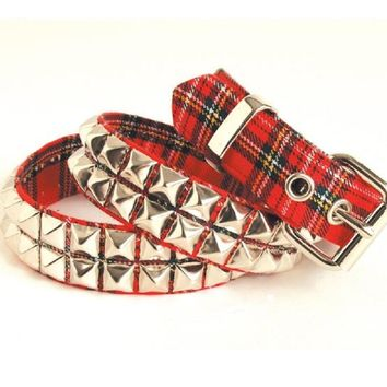 "2-Row Silver Pyramid Stud Red & Black Plaid Belt 1-1/4"" Wide"