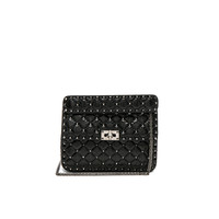 Valentino Medium Quilted Rockstud Spike Shoulder Bag in Black | FWRD