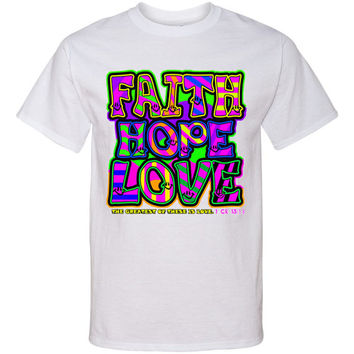 FAITH HOPE & LOVE Neon Screen Print T Shirt Colorful Retro Look Screenprint Tee...Free Shipping!!