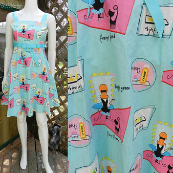 Trending 90's Novelty Printed Dress, Girls Size 12, Ladies XS Rare Editions Fun Print Sundress