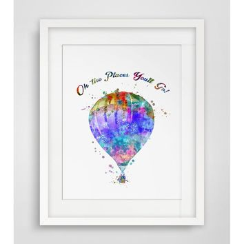 Watercolor Handmade Hot Air Balloon Art Print Watercolor Oh The Places You'll Go Wall Hanging Hot-air Balloon Art Paper  Balloo