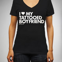 """Dpcted """"I Heart My Tattooed Boyfriend"""" V-Neck Junior Fitted Tee"""