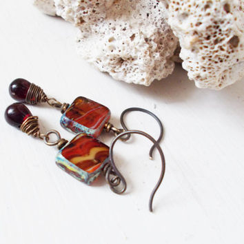 Clearance item ~ Garnet drop dangle earrings, red swirl czech glass squares, oxidized brass, hammered ear wires, simplistic jewelry