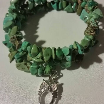 Turquoise Magnesite Layered Memory Wire Bracelet with Silver Filled Owl Charm