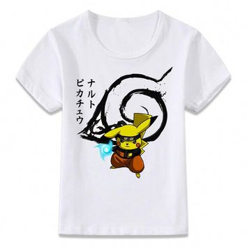 Kids Clothes T Shirt Pikachu Naruto  Funny T-shirt for Boys and Girls Toddler Shirts TeeKawaii Pokemon go  AT_89_9