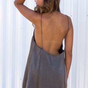 Silky Moss Open Back Slip Dress