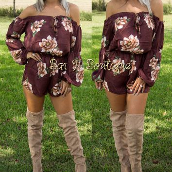 Falling For You Floral Romper ~ Maroon