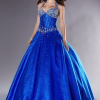 Discounted Halter Beading A-line Sequin Fabric Design Floor length baoo gown/ Prom Dress