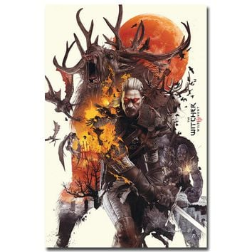 NICOLESHENTING Geralt - The Witcher 3 Wild Hunt Hot Game Art Silk Poster 12x18 24x36inch Wall Picture For Room Decor 004