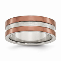 Men's Stainless Steel Chocolate IP-plated Polished Wedding Band Ring: RingSize: 10