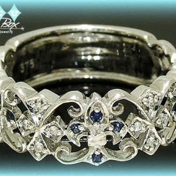 Vintage Wedding Band White Gold Fleur De Lis Diamond and Sapphire Anniversary Band, Eternity Band